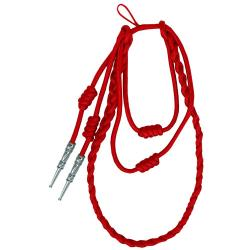 Red Staff Cord Silver Tip (Button Loop) - Takes 4 Weeks