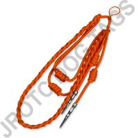 Orange Staff Cord Silver Tip (Button Loop) - Takes 4 Weeks