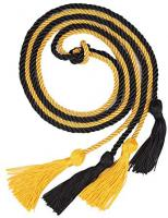 Solid Black / Gold Double Graduation Cord (Each)