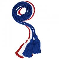 Solid Red / White / Blue Triple Graduation Cord (Each)